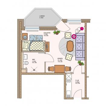 Grundriss mit Möbel