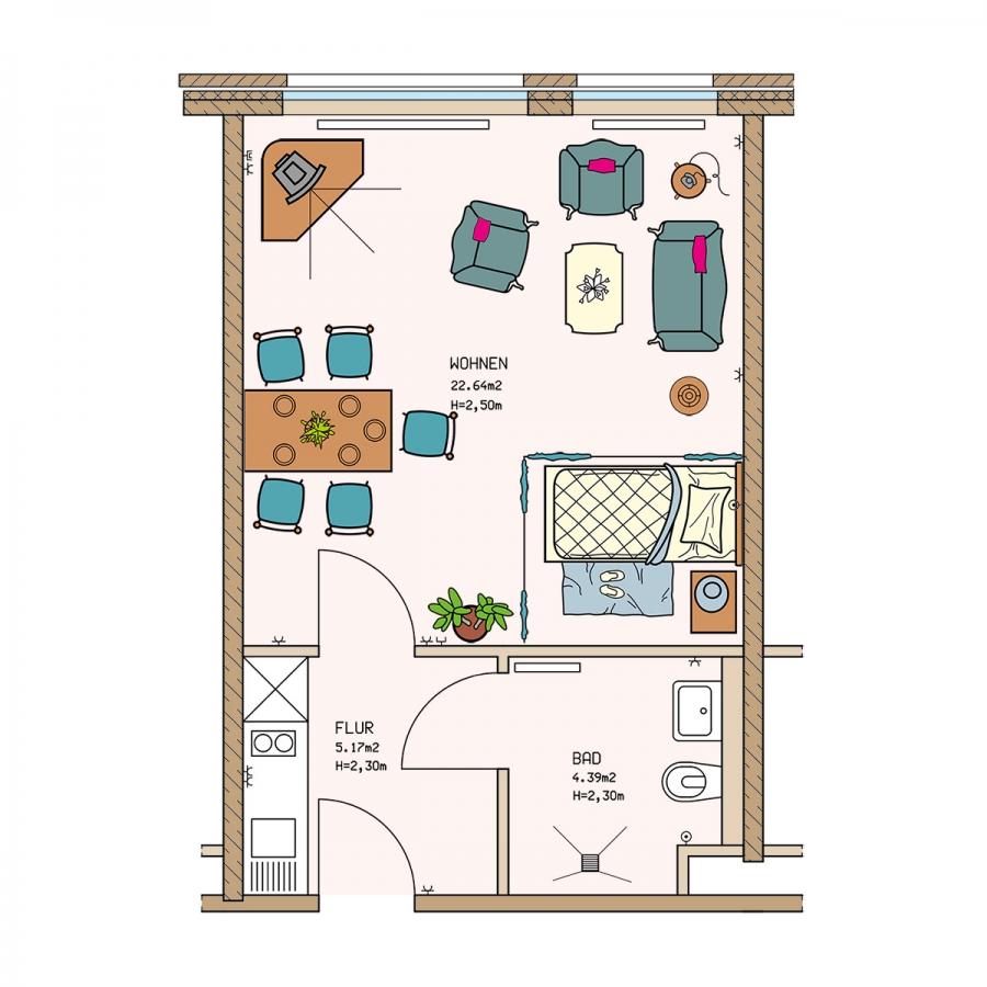 Klein und fein - unser Ein-Zimmer-Apartment für Liebhaber