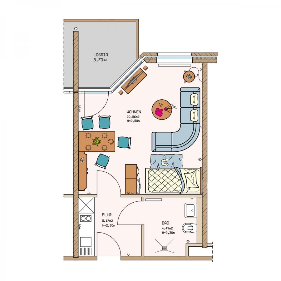 Zauberhafte gelegenes Apartment mit Loggia (Westlage)